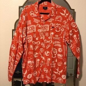 Obey Long Sleeve Button Up Shirt M
